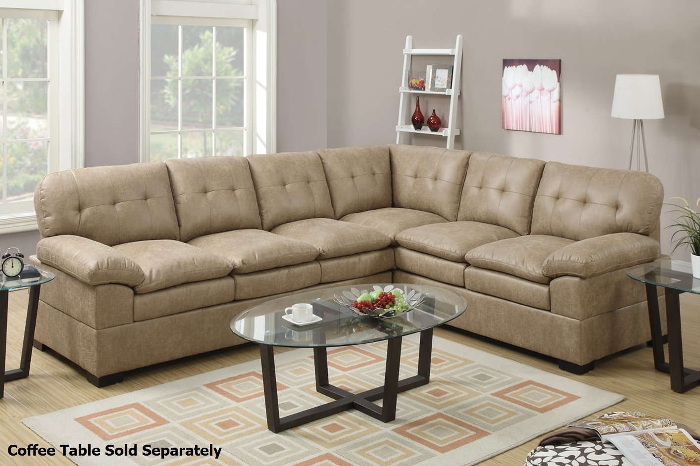 Poundex Tyson F7684 Brown Fabric Sectional Sofa Steal A