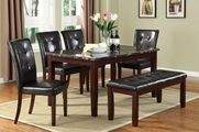Uptown 6pc Real Marble Dining Table and Chair Set