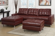 Vali Burgundy Bonded Leather Sectional Sofa