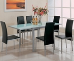 Vance Silver Metal And Glass Dining Table