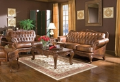 Victoria Brown Leather Sofa and Loveseat Set