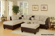 Katja Beige Fabric Sectional Sofa and Ottoman