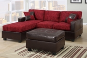 Wagner Red Microfiber Sectional Sofa With Ottoman