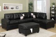 Walcott Black Leatherette Sectional Sofa