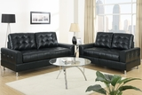 Naomi Black Leather Sofa and Loveseat Set