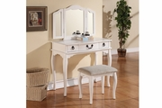 White Fabric Vanity Set with Stool