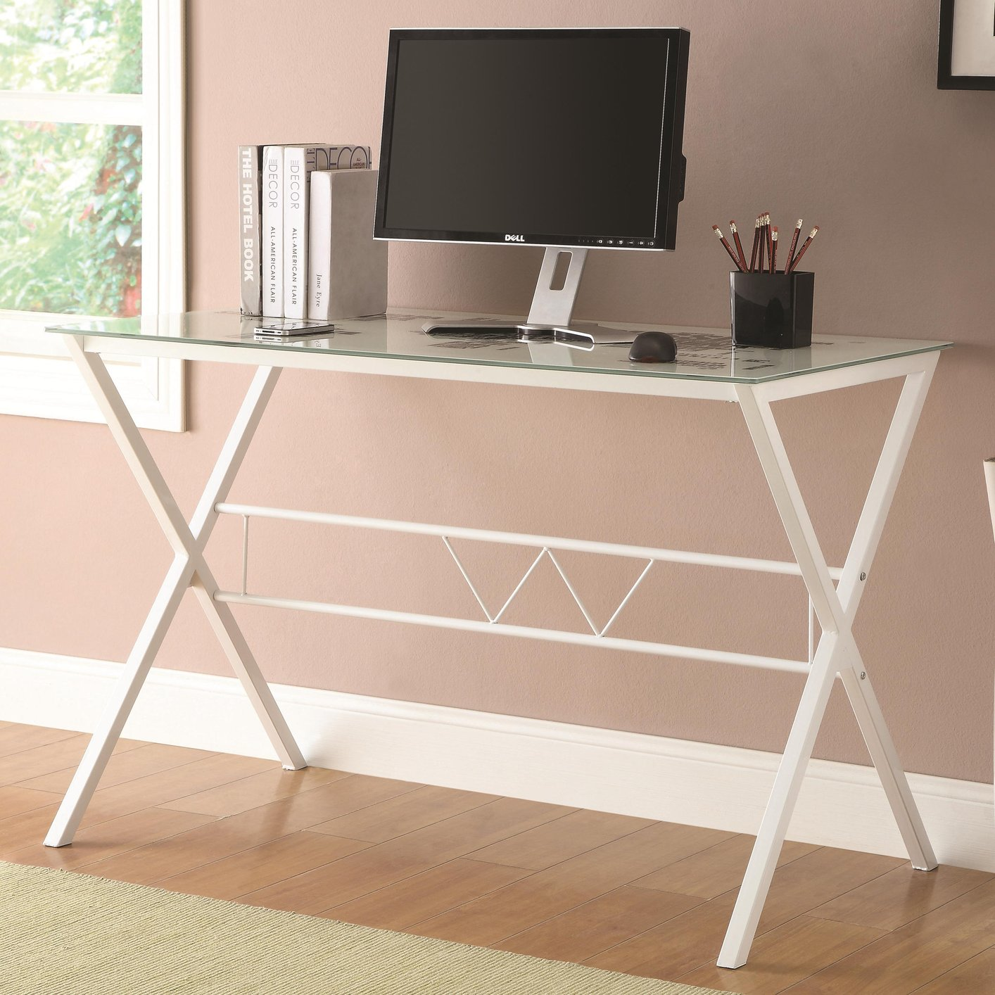 Coaster 800406 White Glass Office Desk - Steal-A-Sofa Furniture Outlet ...