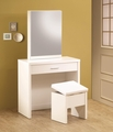 White Glass Vanity Set with Stool