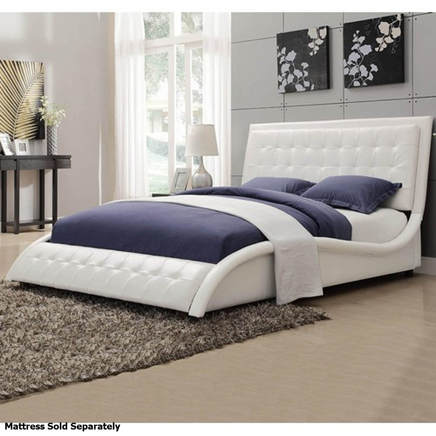 Queen Size Bed: Coaster Tully 300372Q White Queen Size Leather Bed