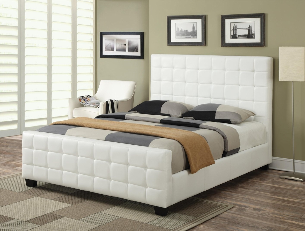 Coaster 300040q White Queen Size Leather Bed Steal A