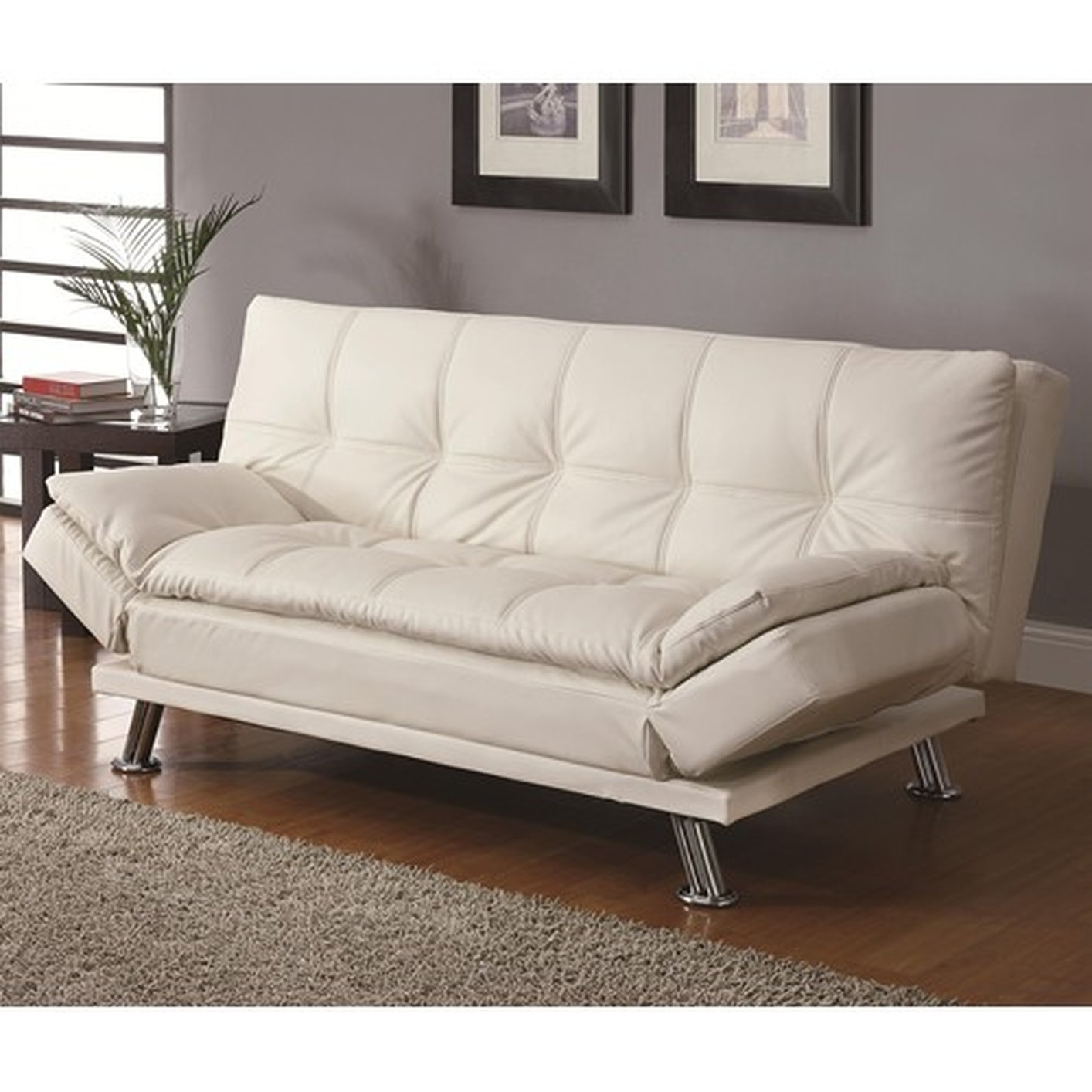 White Leather Sectional Sofa Bed: Coaster Dilleston 300291 White Leather Sofa Bed