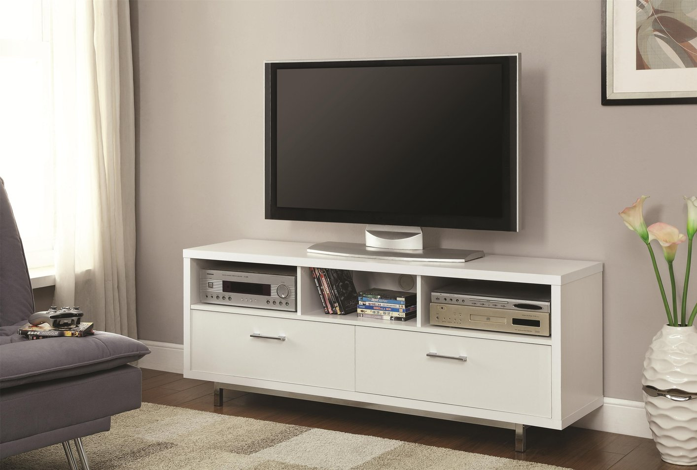 Coaster 701972 White Metal Tv Stand Steal A Sofa