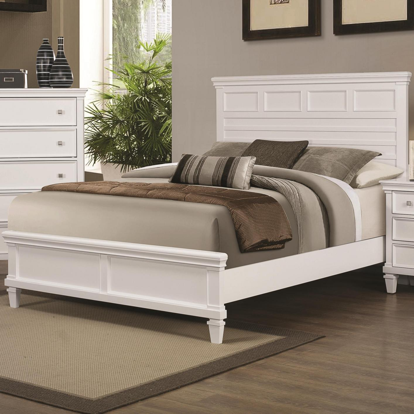 Coaster 200221KW White Wood California King Size Bed Steal A