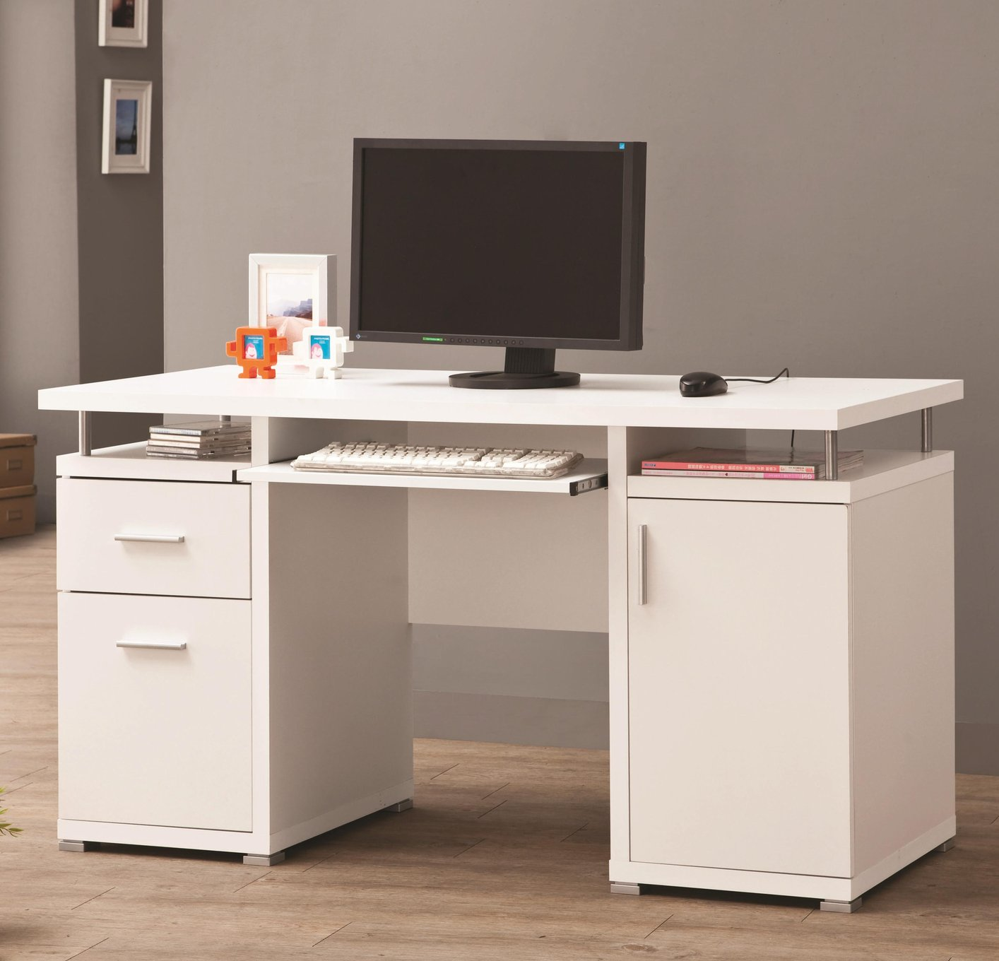Coaster 800108 White Wood Computer Desk - Steal-A-Sofa Furniture