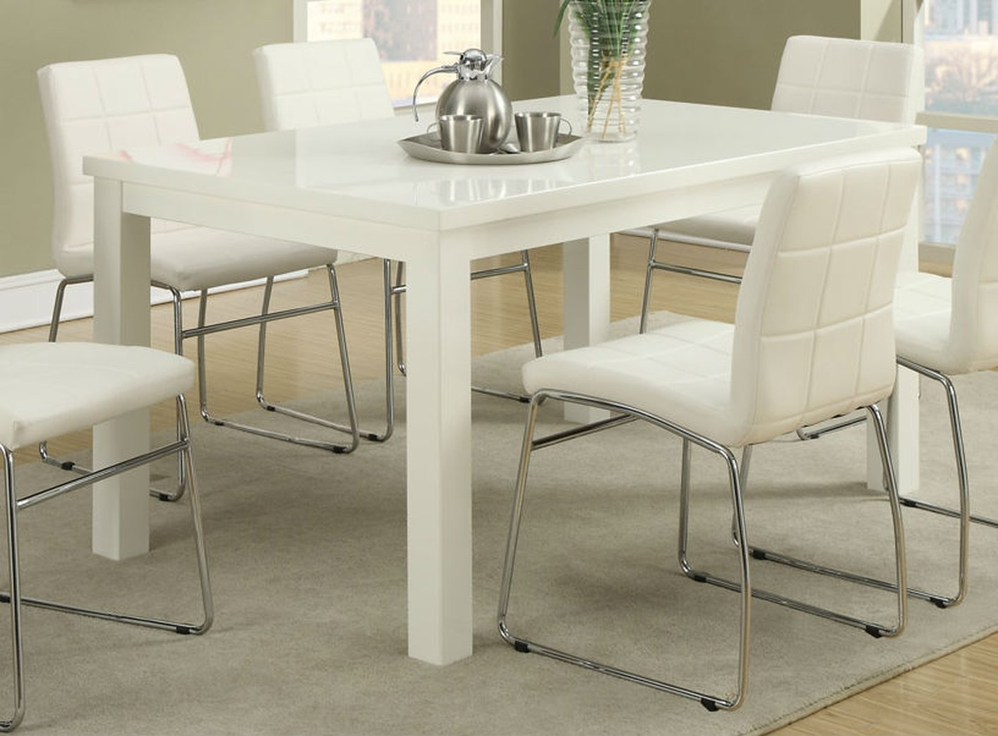 Poundex F2407 White Wood Dining Table Steal A Sofa Furniture