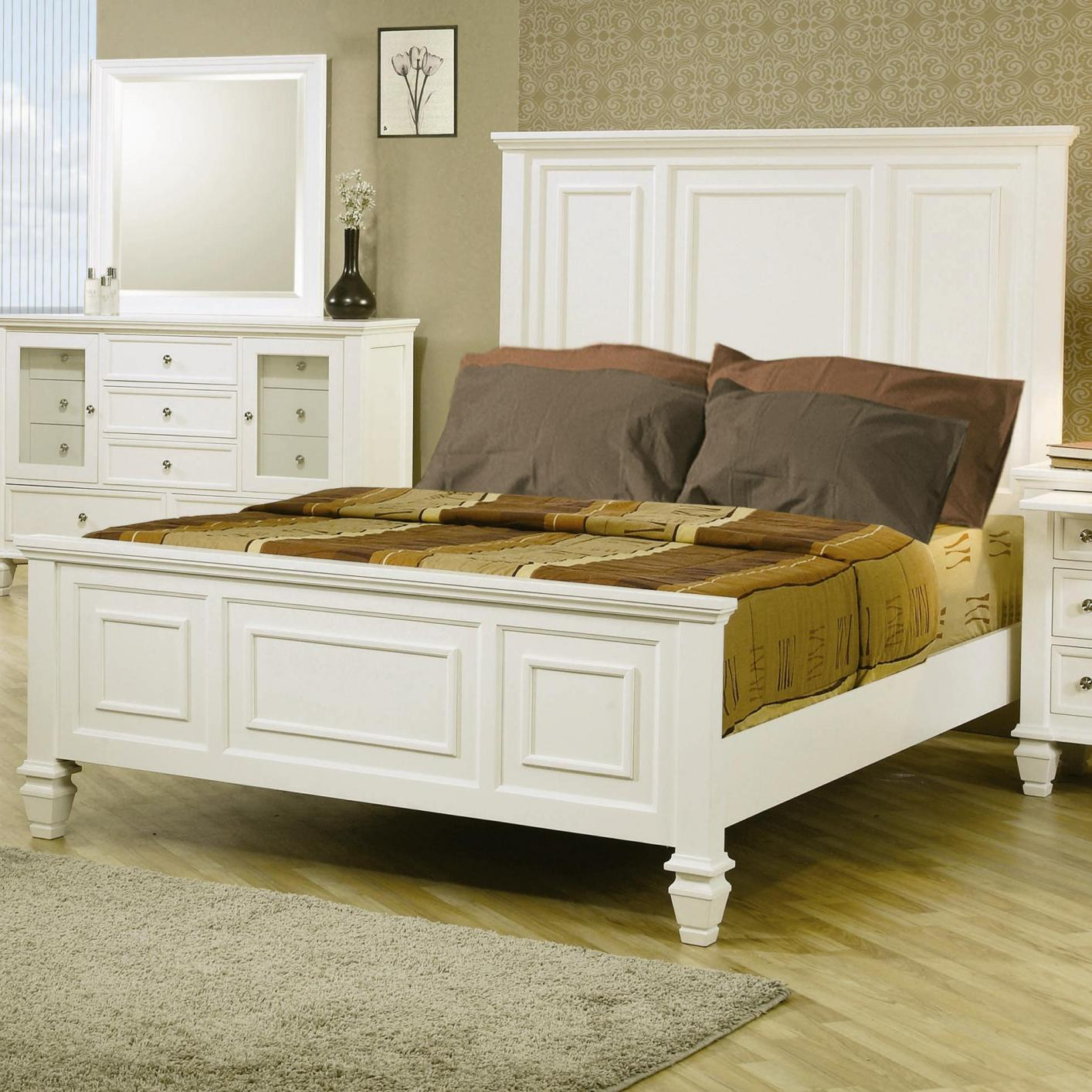Coaster 201301Q White Wood Queen Size Bed Steal A Sofa Furniture