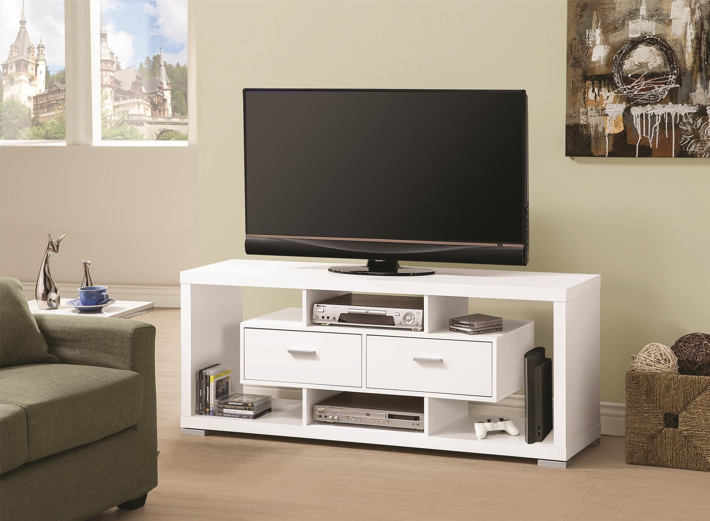Fabulous Coaster White Wood Tv Stand Stealasofa Furniture Outlet With Wood  Tv Stand.