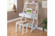 White Fabric Writing Desk Set