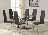XY Silver Metal And Glass Dining Table Set