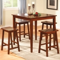 Yates Dark Walnut Wood Pub Table Set