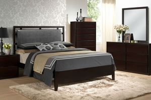Ziek Queen Bed, Dresser, Mirror, One Nightstand