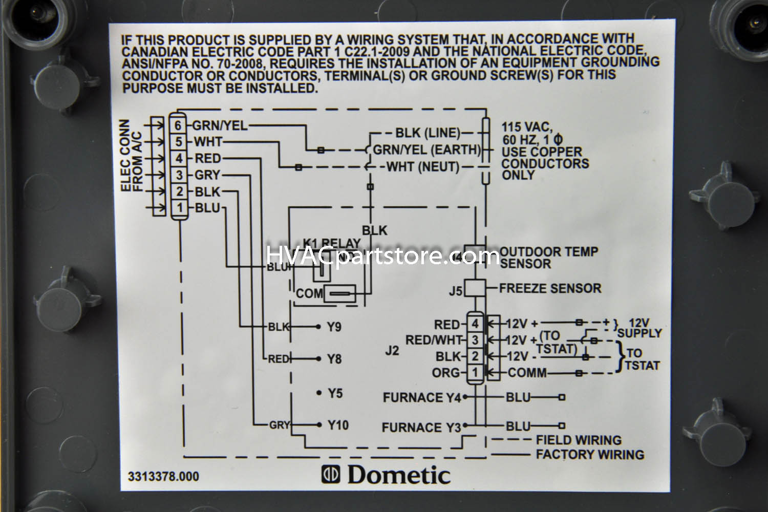 Dometic Duo Therm Brisk T Stat Relay Box With Heat Pump Option Black on Dometic Duo Therm Thermostat Wiring Diagram