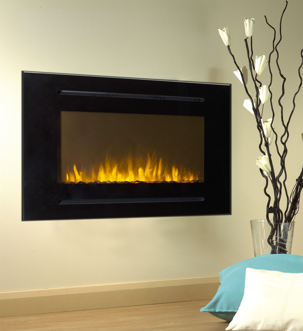 """The Forte™ Touchstone's Recessed Electric Fireplace in Black - 40"""" Black Electric Fireplace Forte 28""""H Tallest Flame"""