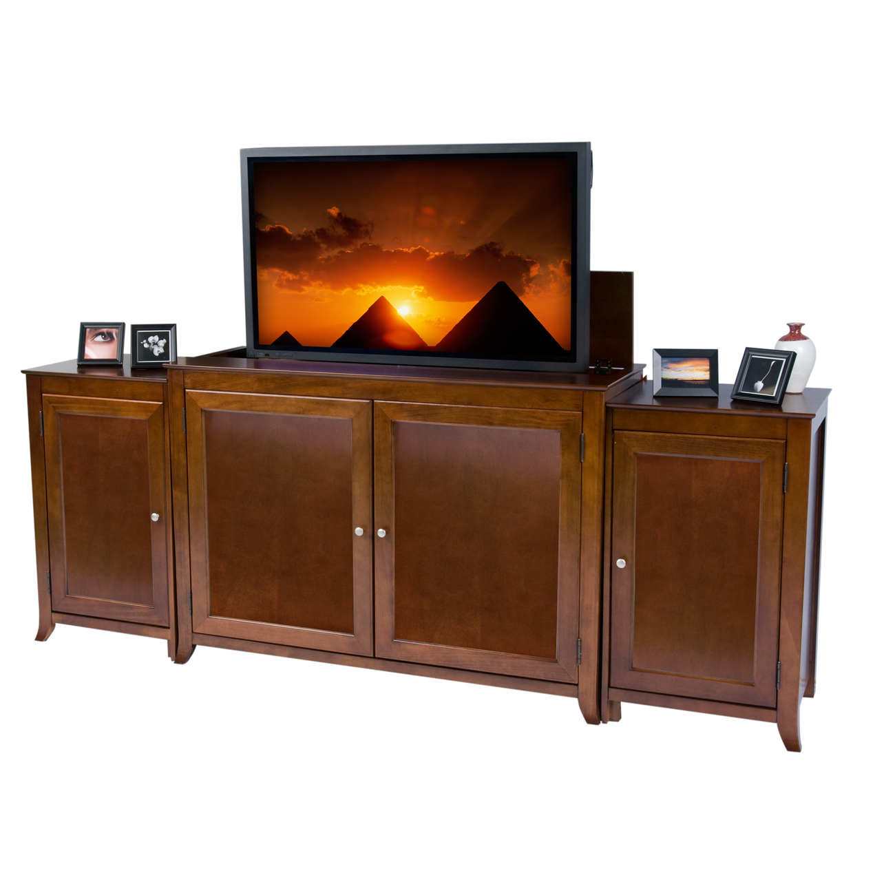 Side Cabinets For Living Room Brookside Cherry Tv Lift Cabinet With Sides For Flat Screen Tvs Up