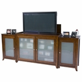Brookside Cherry TV Lift Cabinet with Side Cabinets