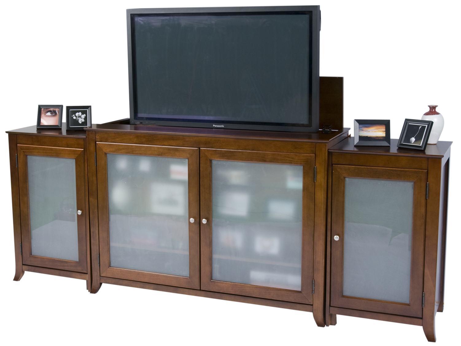 Brookside Cherry TV Lift Cabinet With Sides For Flat