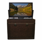 The Elevate� Vintage Trunk Touchstone's Leather Wrapped TV Lift Cabinet