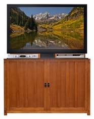 Grand Elevate� Mission Oak<br>Touchstone's TV Lift Cabinet for TVs up to 60 inches