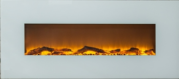 Ivory® Wall Mounted Electric Fireplace, 50 Inch Wide, Logset & Crystal, 1500W Heat (White)