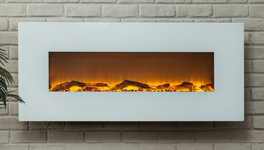 The Ivory™ Touchstone's Wall Mounted Electric Fireplace with Heat in White