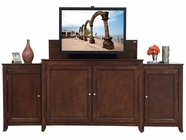 Monterey Espresso Finish TV Lift Cabinet with Side Cabinets