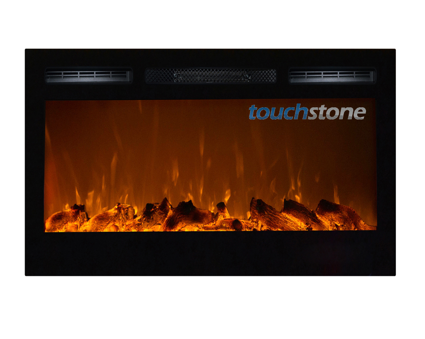sideline 36 quot wall recessed electric fireplace black