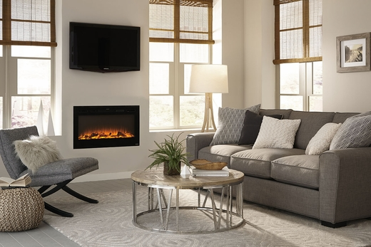 ... Recessed Electric Fireplace with Heat in Black. Loading zoom - Sideline® 36