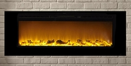 "The Sideline60� Touchstone's 60"" Recessed Electric Fireplace with Heat in Black"