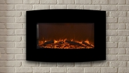 "The Yardley - Touchstone's 36"" Black Curved Electric Fireplace"