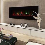 ValueLine60 10-Color, Recessed Wall Electric Fireplace, 60 Inch Wide, Logset & Crystal, 1200W Heat (Black)