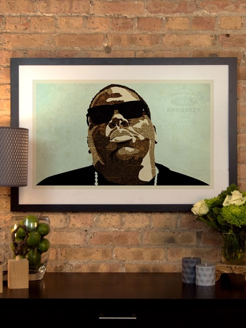 biggie by kyle mosher artwork on fine art paper with black matte hardwood frame 24w x 16h x 1d kmr22 1pfa 24x16 fm01 fs ican