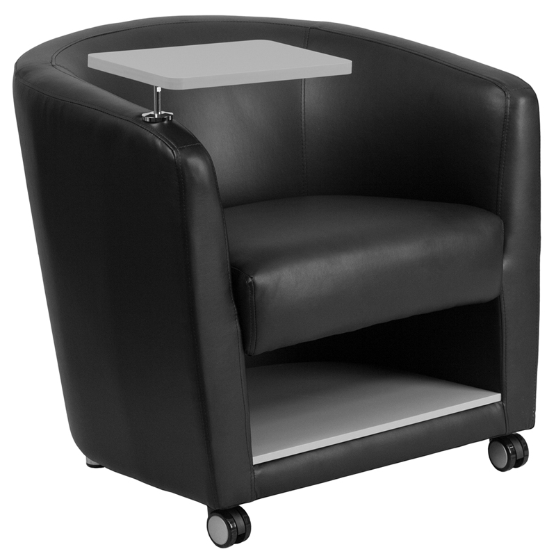 Black Leather Guest Chair with Tablet Arm Front Wheel Casters and Under Seat
