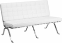 HERCULES Flash Series White Leather Love Seat with Curved Legs [ZB-FLASH-801-LS-WHITE-GG]