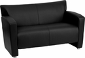 HERCULES Majesty Series Black Leather Love Seat [222-2-BK-GG]