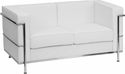 HERCULES Regal Series Contemporary White Leather Love Seat with Encasing Frame [ZB-REGAL-810-2-LS-WH-GG]