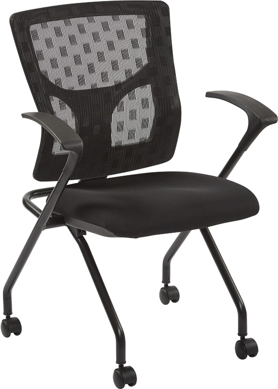 Pro Line II ProGrid Checkered Mesh Back Folding Chair Set of 2 Black and