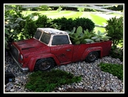 Rustic Red Pickup Truck Fairy Planter