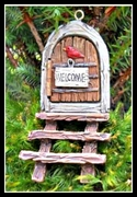 Wooden Fairy Door - Steps & Welcome Sign