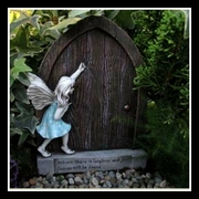 Wooden Fairy Door With Blue Goddess Figurine