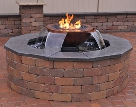 """Copper Fire Bowl Water Pit Insert (Scupper Model) : """"Free Shipping"""""""